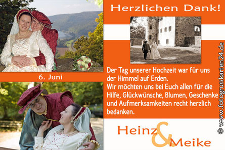 Danksagungskarten zur Hochzeit in orange