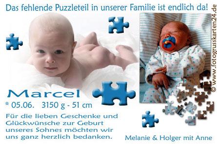 Dankeskarten zur Geburt Junge blau Puzzleteil