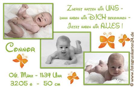 Babykarten grün Geburtsanzeige Jungen