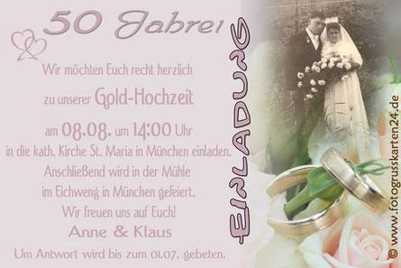 Einladung goldene Hochzeit Einladungskarten