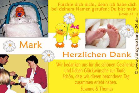 Dankeskarten Taufe gelb für Mädchen mit Foto