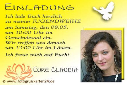Einladungskarten Jugendweihe mit Foto