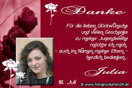 Dankeskarten Jugendweihe rot mit Rose für Mädchen Danksagungen Jugendfeier