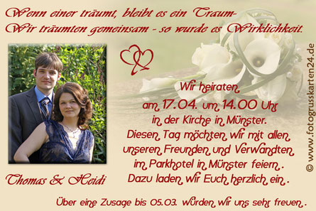 Hochzeiteinladungskarten Einladungen Trauung