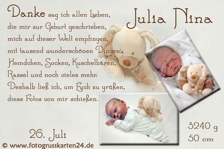 Geliebte Geburtskarten - mit Ihren Fotos & Wunschtext gestaltet #QS_95