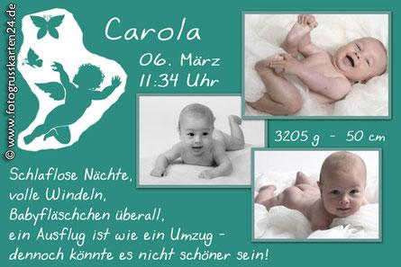 Geburtsanzeige mit Foto und Engel Jungen