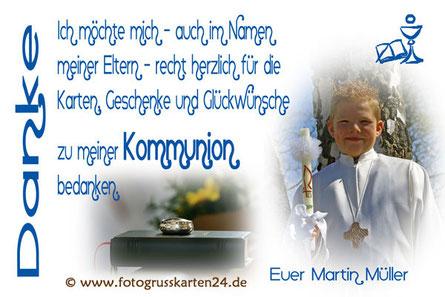 Dankeskarten Kommunion Danksagung 1. heilige Kommunion