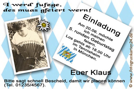 Einladungen Geburtstag bayrischer Abend Einladungskarten