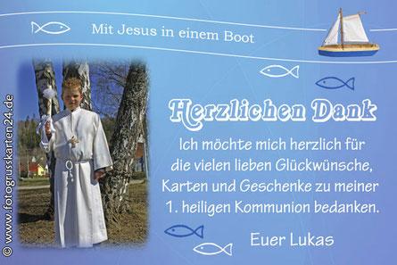 Kommunion Dankeskarte Wir mit Jesus in einem Boot