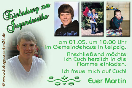 Fotoeinladungskarten Jugendweihe