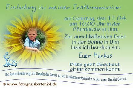 Einladung Kommunion Sonnenblume mit Foto