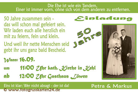 Einladungskarten zur goldenen Hochzeit grün