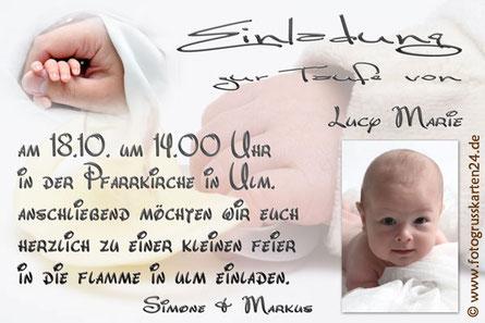 Einladungskarte Taufe mit Foto