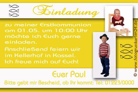 Einladungen Kommunion gelb mit Foto