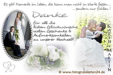 Dankeskarten für Glückwünsche zur Hochzeit Danksagungen