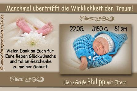 Dankeskarten Babykarten Geburtskarten