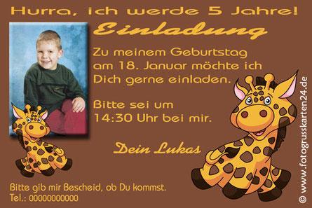 Einladungen Geburtstag Kind Tiere