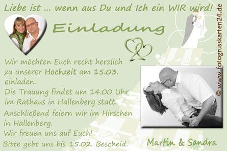 Einladungskarten Trauung Hochzeiteinladungen