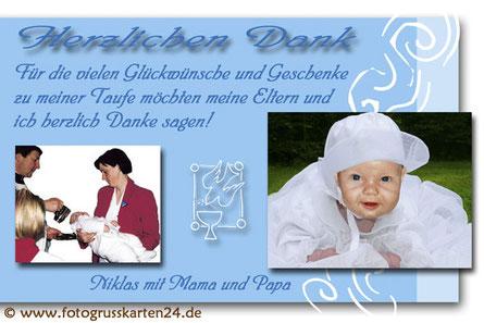 Taufe Dankeskarte mit Foto blau für Jungen