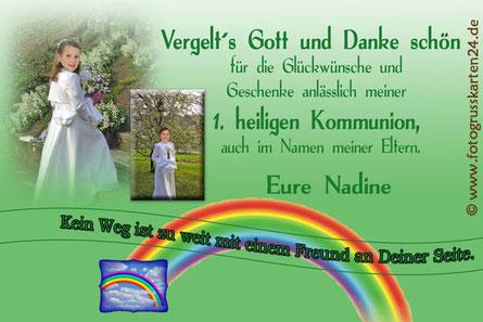 1. heilige Kommunion Dankeskarte Regenbogen Danksagungen