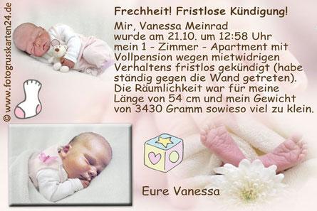 Geburtsanzeige Mädchen rosa Babykarten