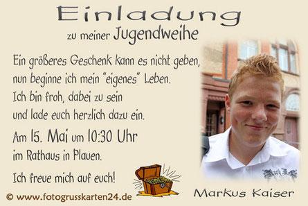 Einladung Karte mit Foto Jugendweihe