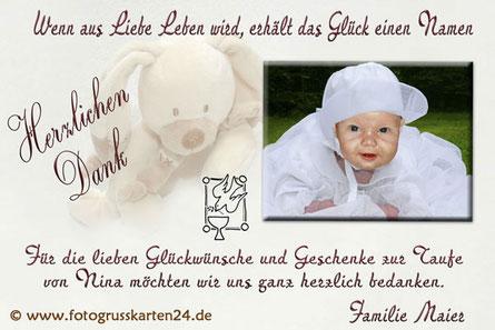 Danksagungskarten Taufe Dankeskarte Taufe