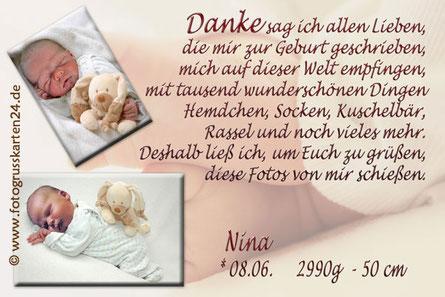 Danksagungskarte zur Geburt Babykarten