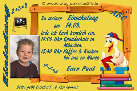 Einladungskarten Schuleinführung Ente