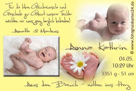Danksagungen zur Geburt Baby