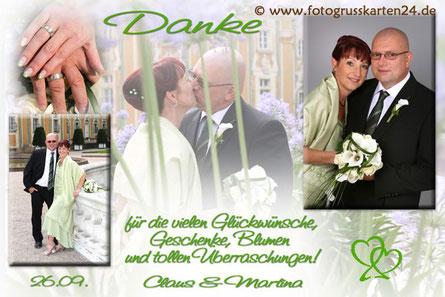 grüne Danksagungskarte zur Hochzeit