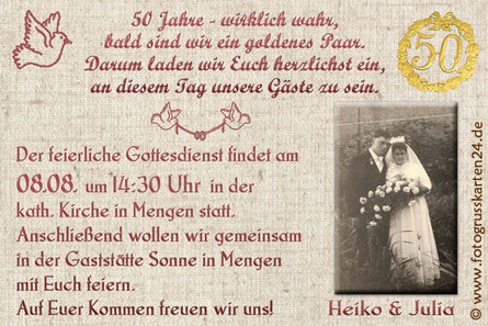 Einladungen zur Goldhochzeit Einladungskarten