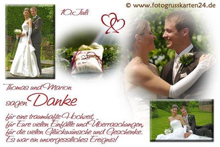 Danksagungskarten Hochzeit Hochzeitskarten mit Foto