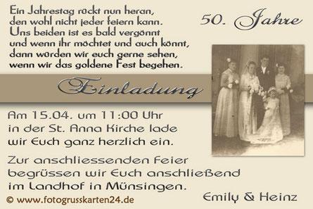 Einladung Goldhochzeit Einladungskarten zur goldenen Hochzeit