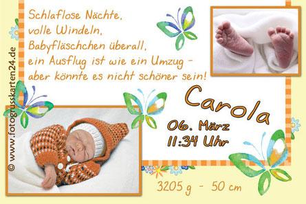Geburtsanzeige Mädchen mit Schmetterlingen Fotokarte Baby