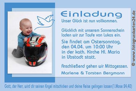 Einladung Taufe mit Wunschtext und Foto, Taufeinladungskarten