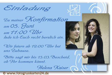 Konfirmation Einladungen mit Foto