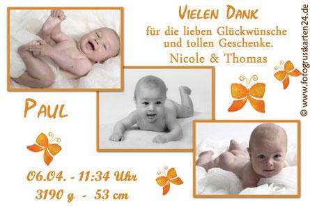 Danksagungskarte zur Geburt Baby