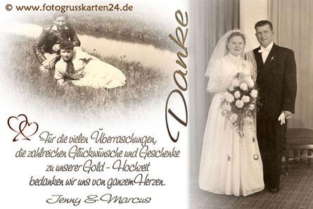 Dankeskarte Goldhochzeit Danksagungen goldene Hochzeit