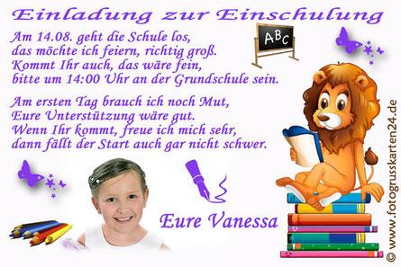 Einladungskarte Einschulung Löwe mit Foto