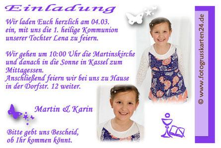 Kommunion Einladungskarten lila mit Schmetterling