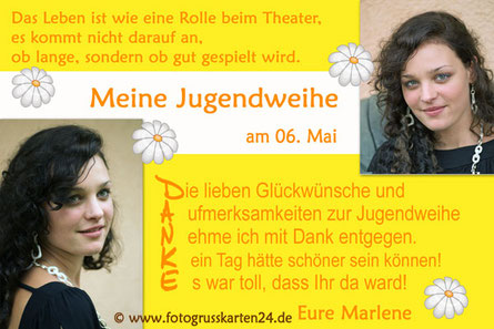 Danksagungskarten Jugendweihe Dankeskarte Jugendfeier