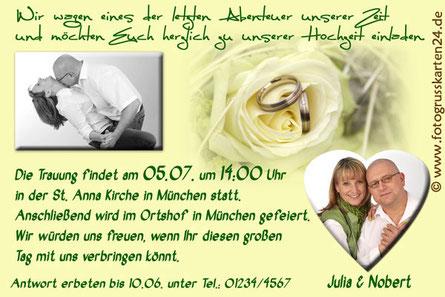 Einladungen zur Hochzeit Einladungskarten Trauung