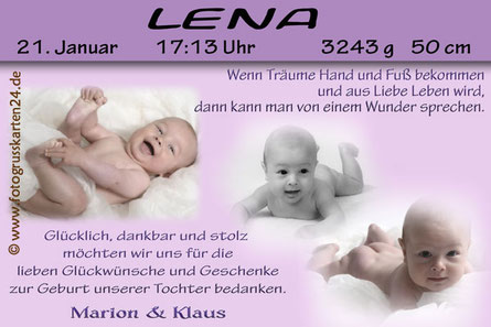 Danksagung Geburtskarten