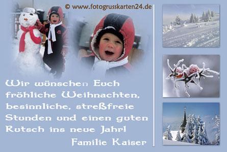 Foto und Text Weihnachtskarte