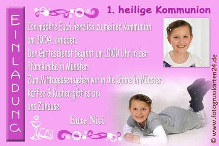 Einladungskarten Kommunion pink