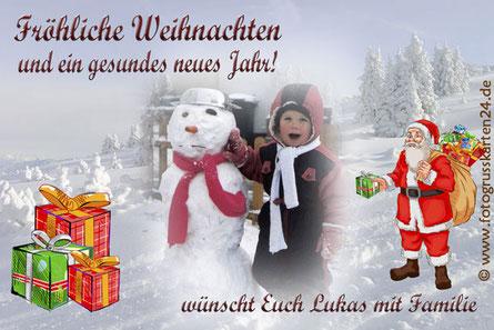 Weihnachtskarten mit Foto und Text
