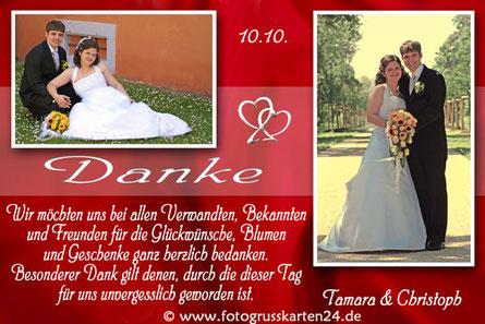 Dankeskarte zur Hochzeit Danksagungskarten Trauung