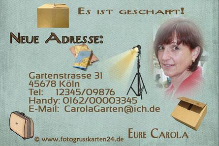 neue Adresse - Mitteilungskarte nach Umzug
