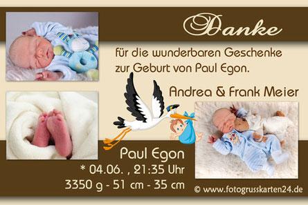 Dankeskarten Babykarten Geburt mit Foto